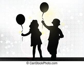 balões, crianças