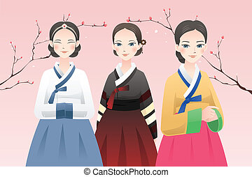 Women wearing traditional Korean outfit - A vector...