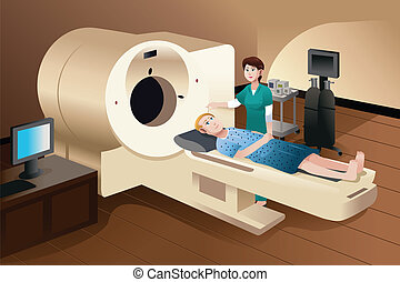Patient lying down on a scan machine