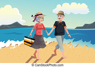 Senior couple walking on the beach - A vector illustration...