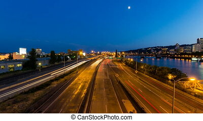 Time Lapse of Light Trails in City
