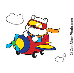 Polar Bear Pilot - Cartoon polar bear pilot, vector is...