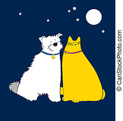Dog and Cat couple, friendship forever. This vector is...