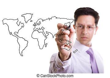 Global business concept - businessman drawing the world map...