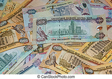 UAE money - Pile of UAE money denoting wealth