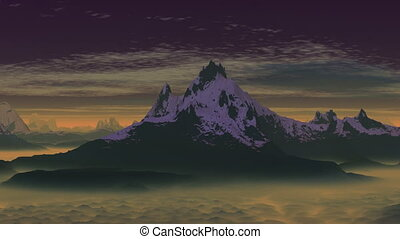 Ghostly mountain - Mountains with sharp peaks covered with...