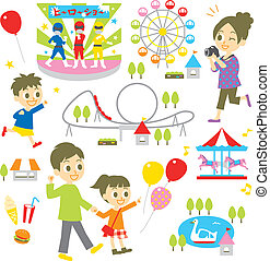 Amusement park, family, vector file