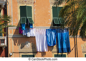 Clothes hanging in Lerici - Liguria - Italy - Sheets and...