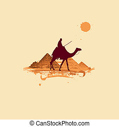 Pyramid in desert, traveling