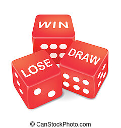 win, lose and draw words on three red dice