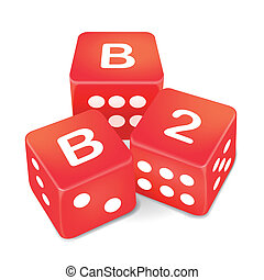 business to business words on three red dice