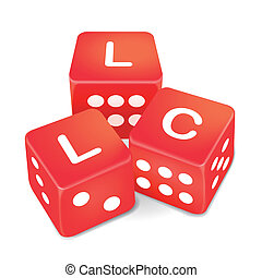 limited liability company words on three red dice over white...
