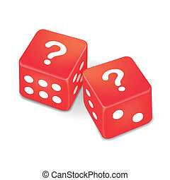 question marks on two red dice