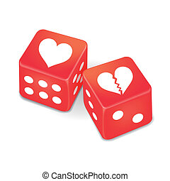 hearts on two red dice isolated on white background