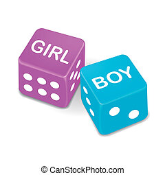 girl and boy words on two red dice isolated on white...