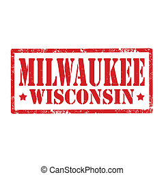 Milwaukee-stamp - Grunge rubber stamp with text...
