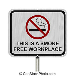 Smoking Free Workplace Sign, An red road sign with cigarette...