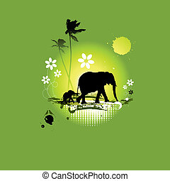 Family of elephants, summer illustration