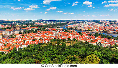 Aerial panorama of Prague, Czech Republic - Scenic summer...