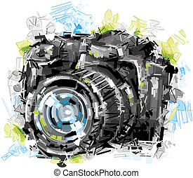 Art Sketch Camera - Camera was painted in Vector. Isolated...