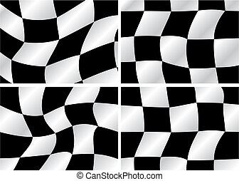 Checkered flag - four Checkered flag waving backrounds,...
