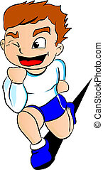 Running boy - Illustration - Young athletic boy running in a...