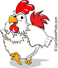 Chicken - Illustration - Chicken happily running along. Used...
