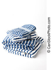 Blue and white stripped towels