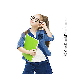 Schoolgirl child in glsses with books looking up. Student...