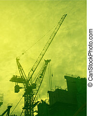 Construction industry - Digital collage illustration of...