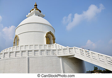 World Peace Pagoda of Pokhara in Annapurna Valley Nepal