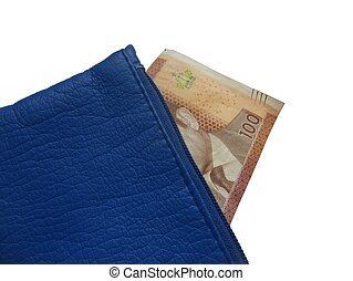 Purse with a 100 Dirham note - Blue purse containing a 100...