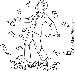 Money Rain - Cartoon illustration of a businessman rained...