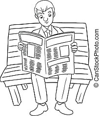 Reading Newspaper - Cartoon illustration of a businessman...
