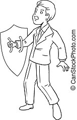Precaution - Cartoon illustration of a businessman holding a...