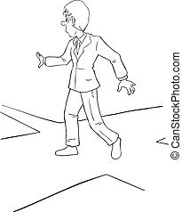 Intersection - Cartoon illustration of a businessman at the...