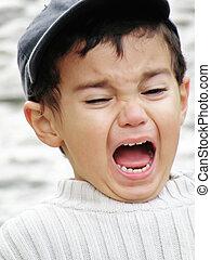 niño, Gritar, De par en par, abierto, boca
