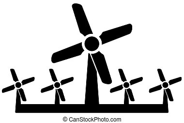 wind mill icon - wind power symbol - isolated black wind...