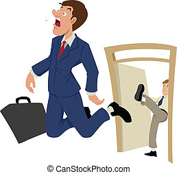 Fired - Cartoon illustration of a businessman being kicked...