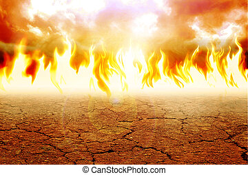 Arid Land - Illustration of fire on arid land