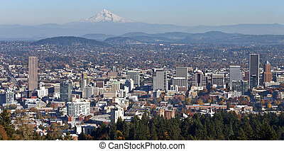 Portland Oregon panorama from Pittock Mansion. - Portland...