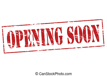 Opening soon - Rubber stamp with text oppening soon inside,...