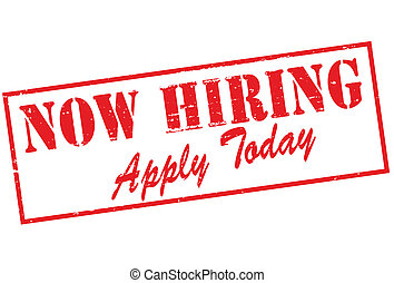 Now hiring - Rubber stamp with text now hiring inside,...