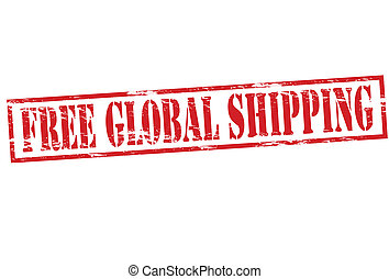 Free global shipping - Rubber stamp with text free global...