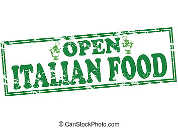 Italian food - Rubber stamp with text Italian food inside,...