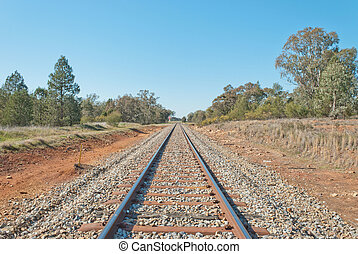 transport - a railway line disappears into the distance and...