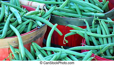 String beans - String beans displayed at a farmers market...