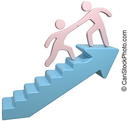 People help join arrow stairs - People join together to help...