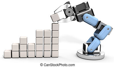 Robot technology business data chart - Robotic arm building...