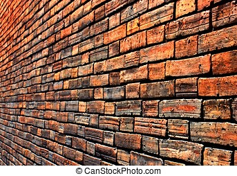 Diminishing wall - View of a brick wall in side